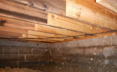 Voorbeeld van een houten constructievloer