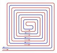 Voorbeeld van slakkenhuispatroon voor vloerverwarming