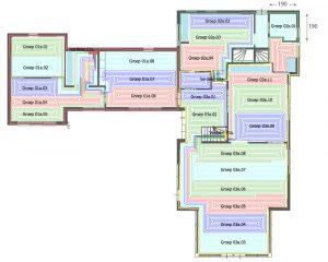 Voorbeeld van een compleet legplan voor vloerverwarming